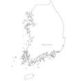 Black White South Korea Outline Map vector image