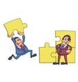 Businessmen solving puzzle vector image