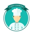 chef cooking logo blue vector image