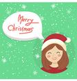 Circle Christmas Girl Bubble Speech vector image