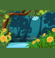 forest scene with flowers and moon vector image