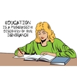 Girl with the book Schoolgirl in the classroom vector image