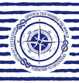 Nautical emblem with compass vector image
