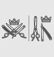 Scissors Razor Crown Logo Emblem vector image