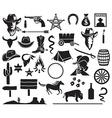 Wild west icon set vector image