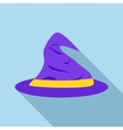 Purple witch hat icon flat style vector image
