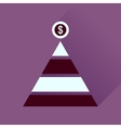 Flat icon with long shadow financial pyramid vector image