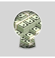 Stacks of money in keyhole vector image
