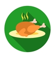 Christmas roasted turkey icon in flat style vector image