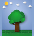 green tree paper art style vector image