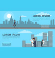People walking in city with building on background vector image