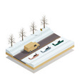 winter road landscape isometric composition vector image