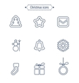 Set of flat outlined Christmas icons on white vector image