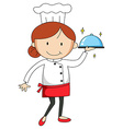 Female chef carrying tray of food vector image vector image
