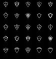 Design shield line icons with reflect on black vector image