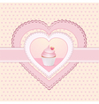 cupcake heart label vector image vector image