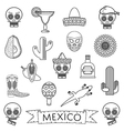 mexican line icons vector image vector image