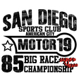 Athletic sport america san diego typography t-shir vector image