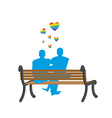 Gays on bench Appointment of two blue men Romantic vector image