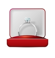 wedding rings in a gift box on white vector image