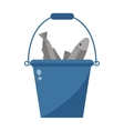 Bucket with fish vector image