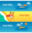 Summer Holidays Banner with Young Couple on Beach vector image