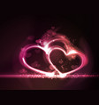 Red pink glowing hearts frame vector image