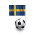 Soccer Balls or Footballs with flag of Sweden vector image
