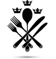 Cutlery with crowns vector image