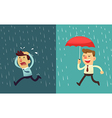business man in the rain preparation vector image