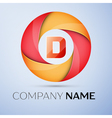 D letter colorful logo in the circle template for vector image