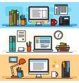Designer workspace flat design concept vector image