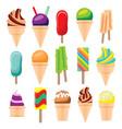 ice cream set isolated on white background vector image