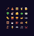 pixel art food icons vector image