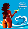hello summer holidays emblem vector image