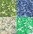 Set of camouflage military background in pixel vector image