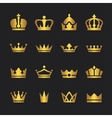Golden crown icons set vector image