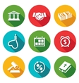 The consequences of the credit Icons Set vector image