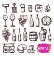 Wine black doodle icons set vector image