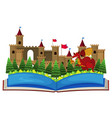 book with castle towers and dragon vector image