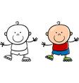 boy on rollerblades cartoon vector image