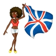 British flag girl vector image