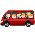 Children riding in red van vector image