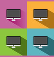 computer icon with shade on colored backgrounds vector image