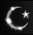 silver particles wave in form of crescent and star vector image