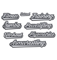 Tags of popular gym sports vector image