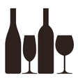 Bottles and glasses of wine and champagne vector image vector image