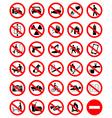 Prohibition symbol set vector image