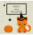 Halloween card or background with little fox vector image vector image