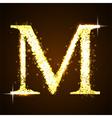Alphabets M of gold glittering stars vector image